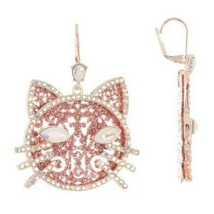 Betsey Johnson Glitter Cat Drop Earrings